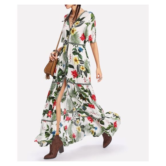 MBM Unlimited Dresses & Skirts - White Green Tropical Print Button Down Maxi Dress